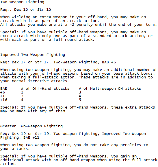 pathfinder improved two weapon fighting