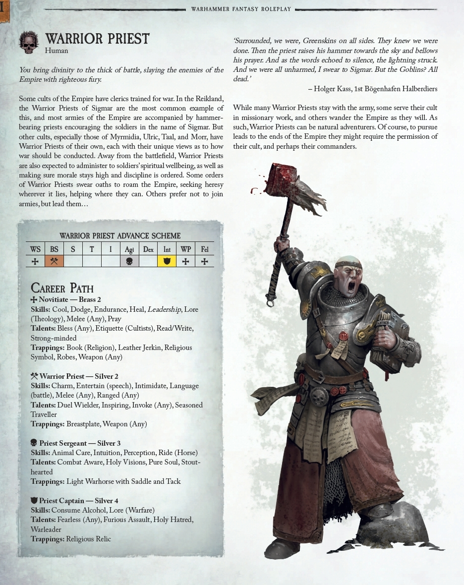 warhammer fantasy rpg 4th edition classes