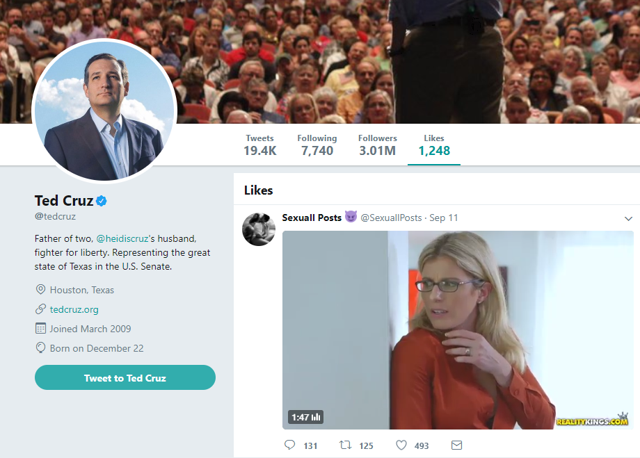 Cory Chase Liked By Ted Cruz